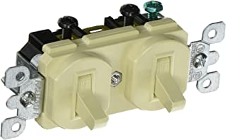 Leviton S01-05224-ISP Decora Duplex Double Heavy Duty Combination Switch, 120/277 Vac, 15 A, 1 P, Ivory