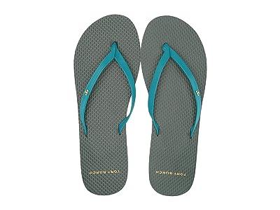 Tory Burch Leather Flip-Flop (Deep Aqua/Multi) Women