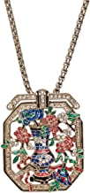 Grace Kelly Collection Dried Flower Pendant Brooch Necklace with Velour Covered Steel case.