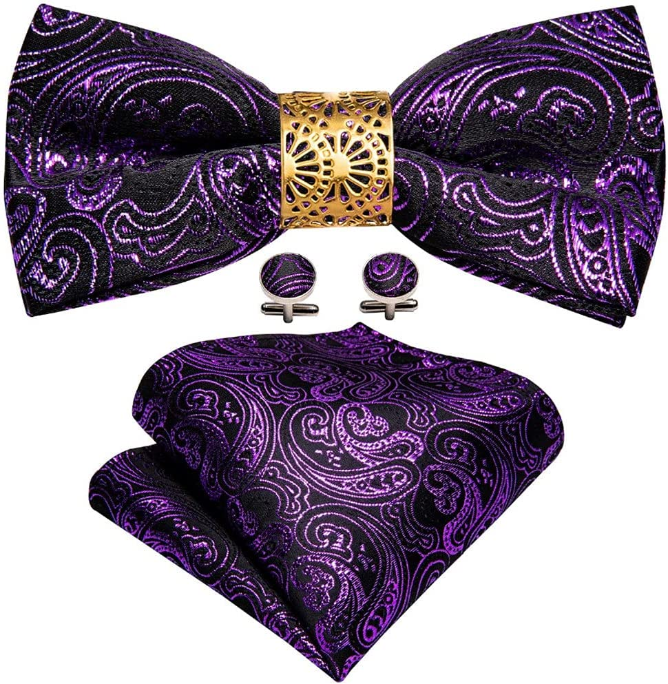 CDQYA Purple Silk Bow Tie For Men Wedding Accessorie Adjustable Butterfly Handky Removable Ring Set (Color : Purple, Size : One size)
