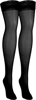 NuVein Sheer Compression Stockings for Women Fashion Silky Sheen Denier Thigh High, Black, Small