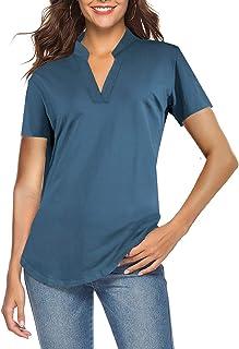 Women's Short Sleeve V Neck Tops Casual Tunic Blouse Loose Shirt