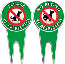 Bundle Pack| No Peeing/Pooping Be Respectful Dog Sign | Stop Dogs from Pooping and Peeing On Your Lawn | Sign Politely Reads: Please Be Respectful | Protect Your Property! (No Pee/Poo Pack of 2)