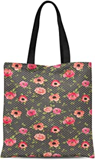 S4Sassy Blue Leaves & Blooming Camellias Floral Printed Canvas Large Tote Bag for Beach Shopping Groceries Books 16x12 Inches