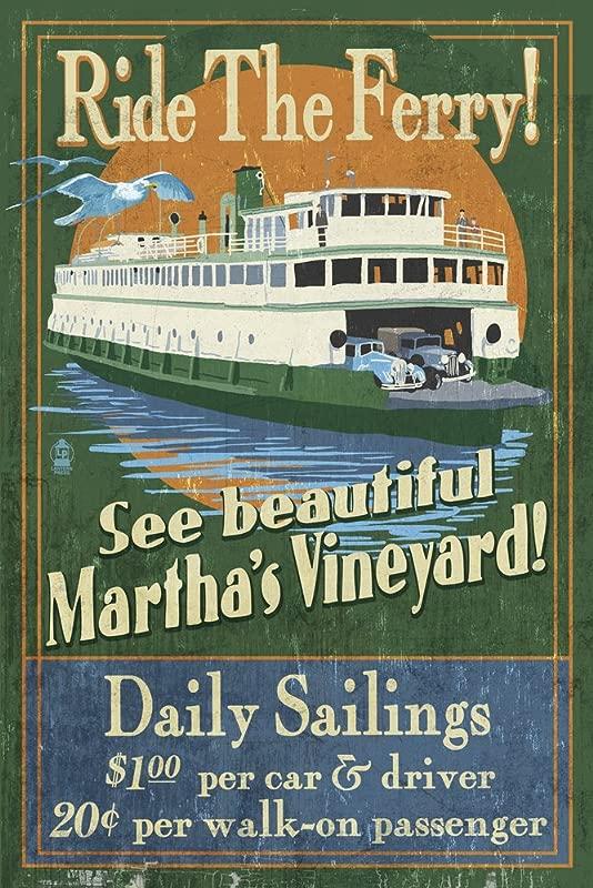 Martha S Vineyard Massachusetts Ferry Ride Vintage Sign 12x18 Art Print Wall Decor Travel Poster