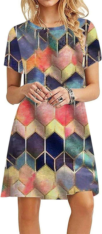 HAM Summer Dress for Women Short Sleeve O Neck Mini Dress Tie Dye Diamond Printed Dress Knee Length Dresses