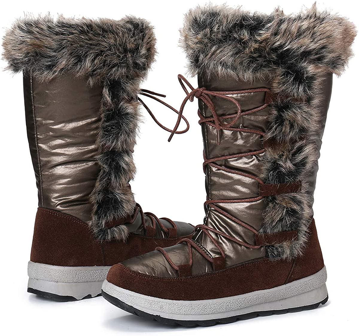 gracosy Winter Snow Boots for Women, Mid Calf Boot Waterproof Fully Fur Lined Warm Outdoor Booties Frosty Snow Boot Zipper Tall Boots