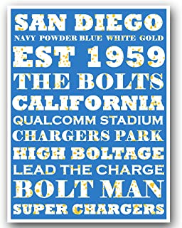 Atlas San Diego Chargers Poster Subway Style Art Football NFL Print 12x16