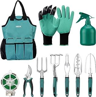 URCERI Garden Tool Set,10 Piece Heavy Duty Rust-Resistant Gardening Equipment with Garden Tool Bag,Gardening Gloves Shovels 98 Feet Bind Line and More,Perfect Garden Tools for Men and Woman