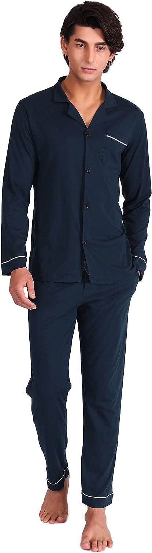 David archy, pigiama da uomo in cotone, a maniche lunghe, due pezzi, il pigiama è ultra morbido e traspirante