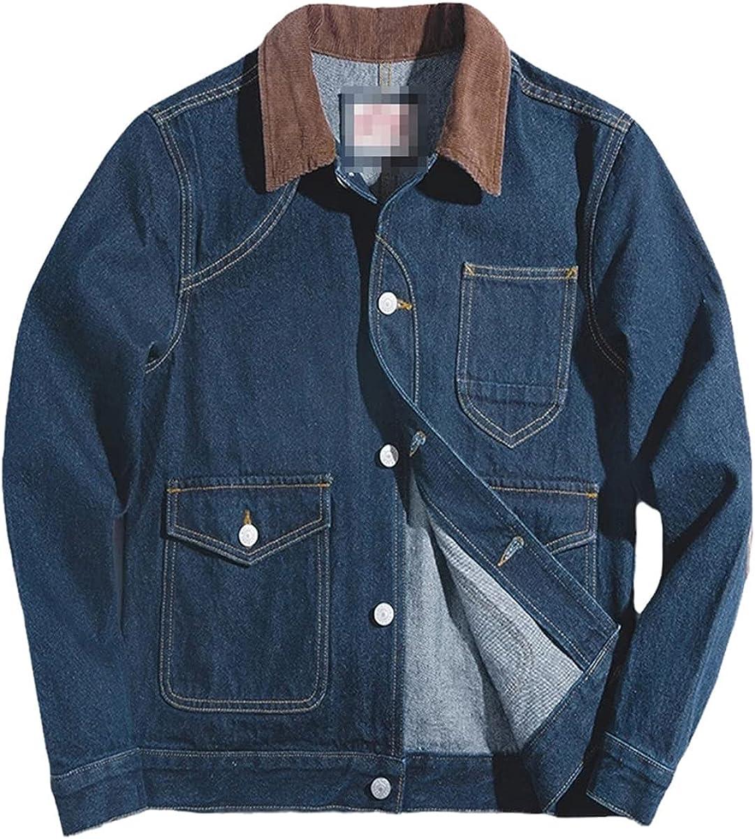 Men's Loose Denim Jacket Casual Retro Blue Coat Peach Color Corduroy Cotton Pocket Hunting Jacket Men's