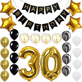 Happy 30th Birthday Banner Balloons Set for 30 Years Old Birthday Party Decoration Supplies Gold Black