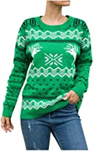 Women Christmas Sweater Xmas Elk & Snowflake Long Sleeve Ugly Christmas Knit Pullover Knitting Jumper Shirt Tops