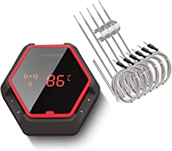 6 Probes Red IBT6XS Bluetooth Digital Meat Thermometer with Rechargeable Battery Oven Cooking Kitchen Camping