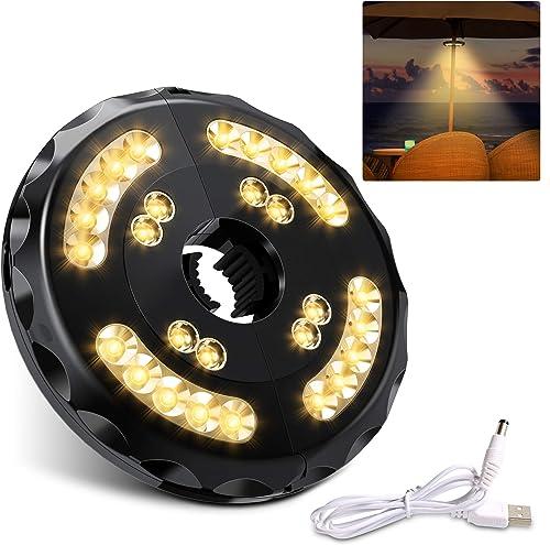 【Actualizar】Luces para Sombrillas 28 Led 400 Lúmenes Lámpara de Paraguas 2 Modos de Iluminación 18-54 horas y Recarga...