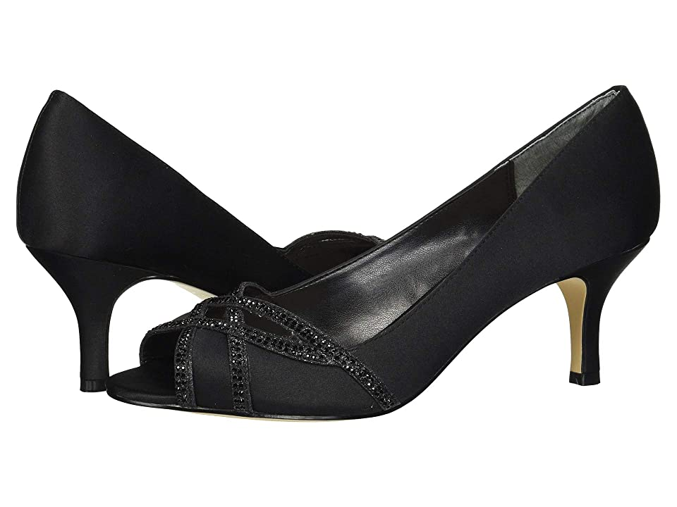 Nina Manon (Black Satin/Black Glitter) High Heels