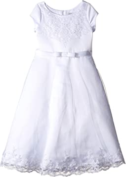 Us Angels - Satin & Embroidered Netting Cap Sleeve A-Line Dress (Little Kids/Big Kids)