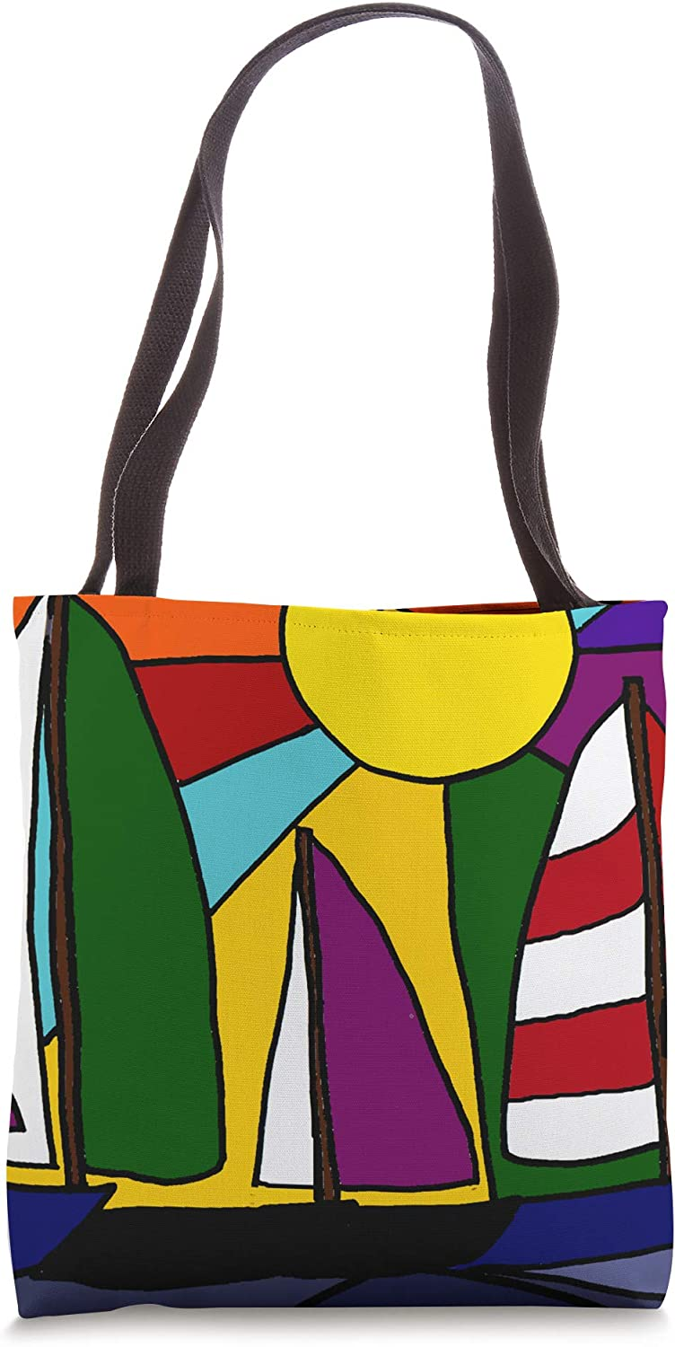 Smileteestotes Colorful Sailboats in the Sun Abstract Tote Bag
