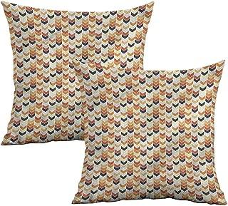Khaki home Chevron Square Slip Pillowcase V Shaped Forms and Stripes Square Kids Pillowcase Cushion Cases Pillowcases for Sofa Bedroom Car W 14