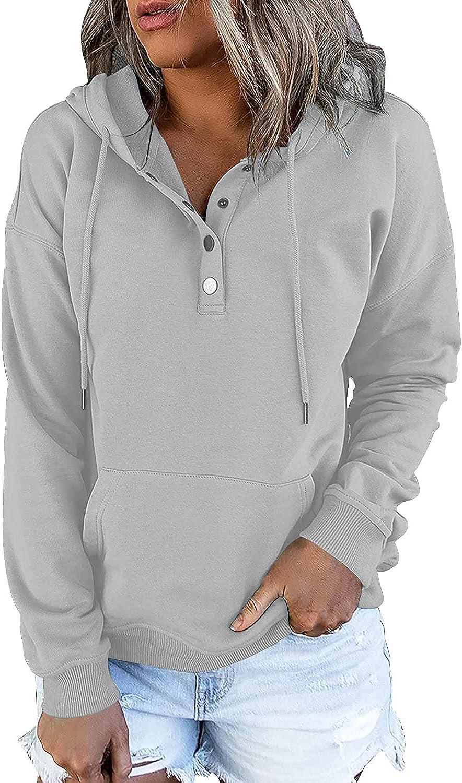 IHOT Women's Sweatshirt Long Sleeve Lightweight Button Down Tops Hoodies Casual Pullover with Pocket