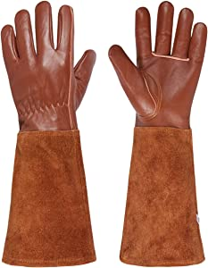Packfun Rose Pruning Gloves, Goatskin Leather Gardening Gloves for Men&Women, Extra Long Cowhide Suede Gauntlet for Forearm Protection, Thorn Proof Suitable for Roses Prickly Berries Pruning&Growing