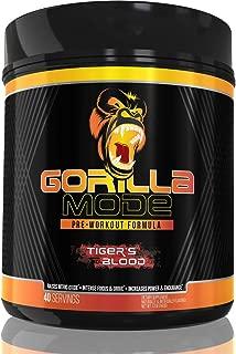 GORILLA MODE Pre Workout - Massive Pumps · Laser Focus · Energy · Power - L-Citrulline, Creatine, GlycerPump™, L-Tyrosine, Agmatine, Kanna, N-Phenethyl Dimethylamine Citrate - Tigers Blood - 560 Grams