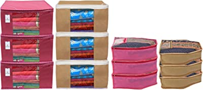 Kuber Industries Non Woven 6 Pieces Saree Cover/Cloth Wardrobe Organizer and 6 Pieces Blouse Cover Combo Set (Pink & Brown) (CTKTC045400)