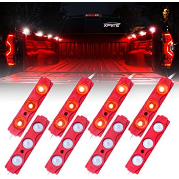 Xprite Led Rock Light for Bed Truck, 24 LEDs Cargo Truck Pickup Bed, Under Car, Foot Wells, Rail Lights, Side Marker LED Rock Lighting Kit w/Switch Red - 8 PCs