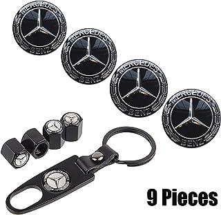 Best 9-Piece Set 65mm Mercedes Benz Emblem Badge Sticker Wheel Hub Caps Centre Cover +Tire Valve Stem Caps Cover with Mercedes Keychain for Mercedes Benz. (Benz Black) Reviews