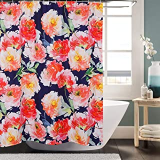 Lahome Peony Shower Curtain - Watercolor Floral Pattern Decorative Shower Curtain Set for Bathroom Waterproof Polyester Fabric 72x72 Inch with Hooks (Peony, 72x72 Inch)