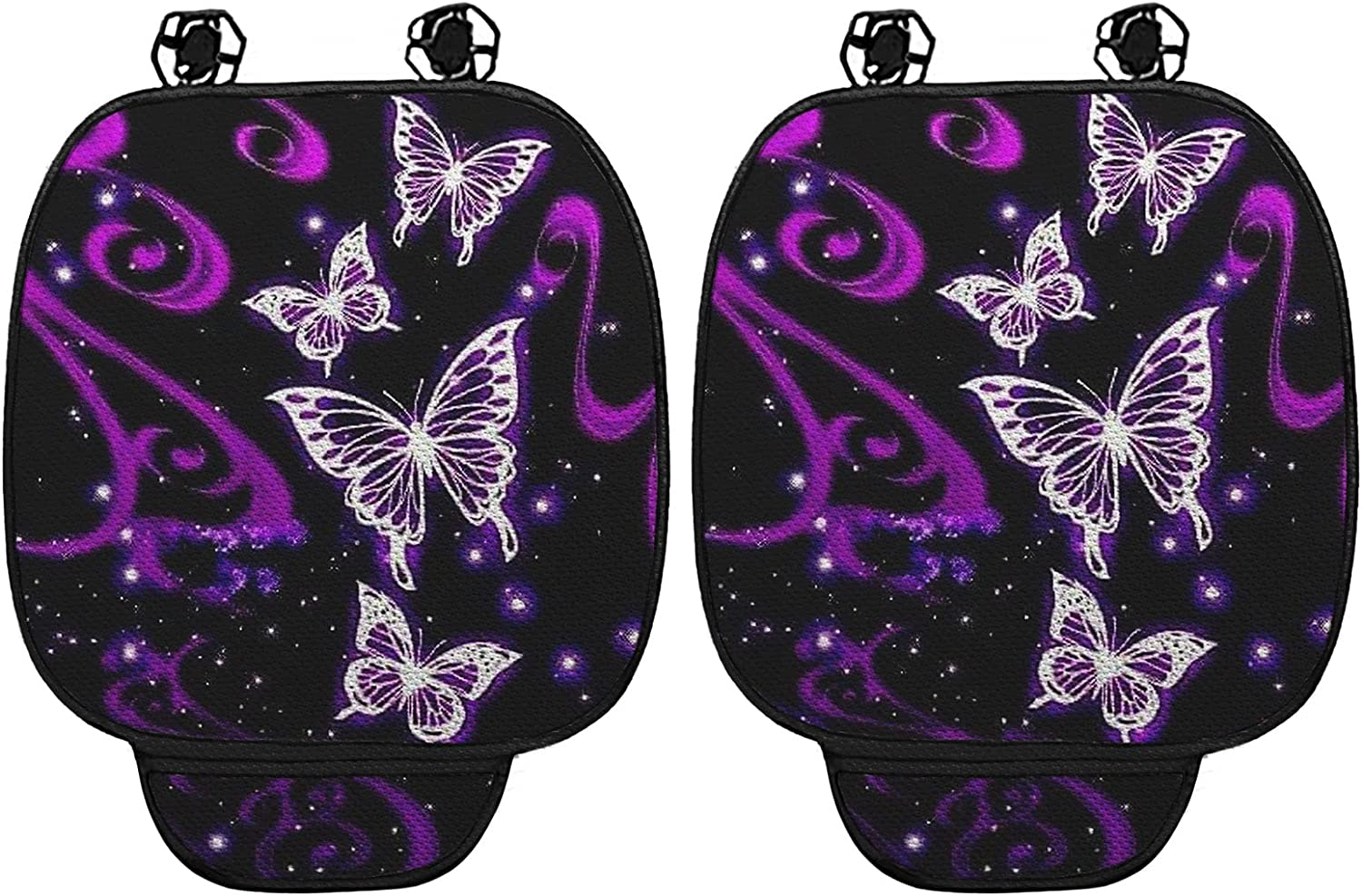 WELLFLYHOM Butterfly Car Seat Cushion Pad for Car Driver Seat Set of 2,Car Seat Cushion Front Seat Bottoms Protectors with Pocket,Purple Auto Seat Cushions for Cars Accessories