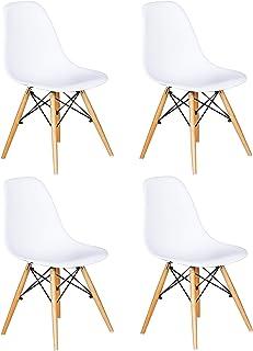 Ensemble De 4 Chaises Avec Assise En Résine, Couleur Blanche, 82 X 46 X