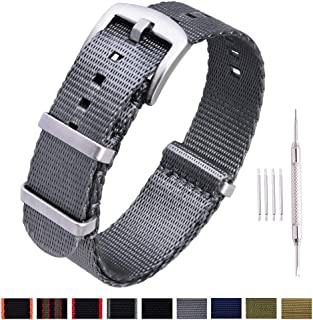 NATO Watch Strap with Heavy Buckle 18mm 20mm 22mm Premium Seat Belt Nylon Watch Bands for Men Women
