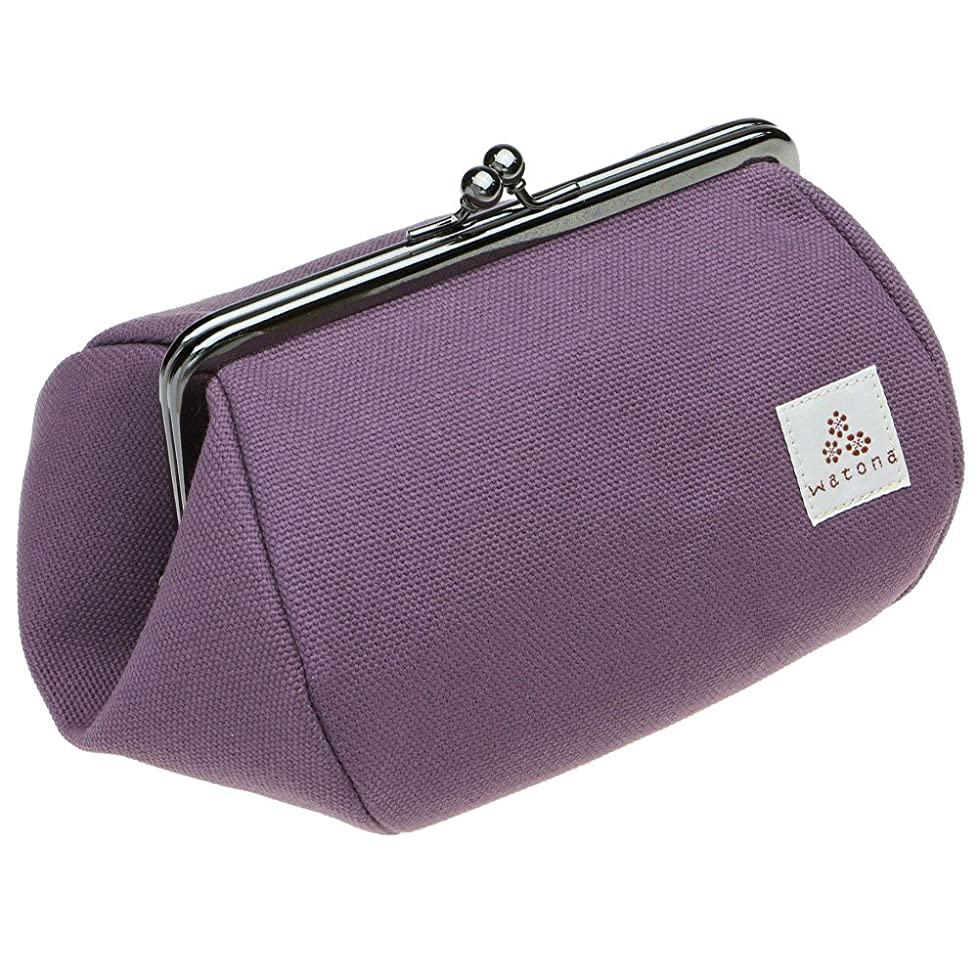 有効パートナー郵便屋さんwatona 帆布がま口 化粧ポーチ 4.5寸 Lサイズ