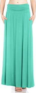 Fashion California Womens 1-2 Pack High Waist Shirring Maxi Skirt Side Pockets (S-XXXXXL)