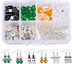 SUNNYCLUE 1 Box DIY Make 6 Pairs Crystal Bead Dangle Earring Making Starter Kits White Snowman Red Angel Glass Bead Christmas Tree Dangle Earrings Jewelry Supplies for Beginners Adults Instruction