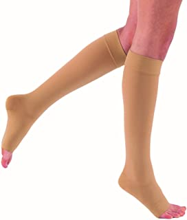 JOBST Relief Knee High Open Toe Compression Stockings,, Unisex, Extra Firm Legware for Tired and Heavy Legs, Compression Class- 30-42