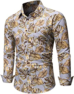 SPE969 Men's Casaul Print Button Down Shirt, Summer Casual Slim Long Sleeve Shirts Top Beach Blouse