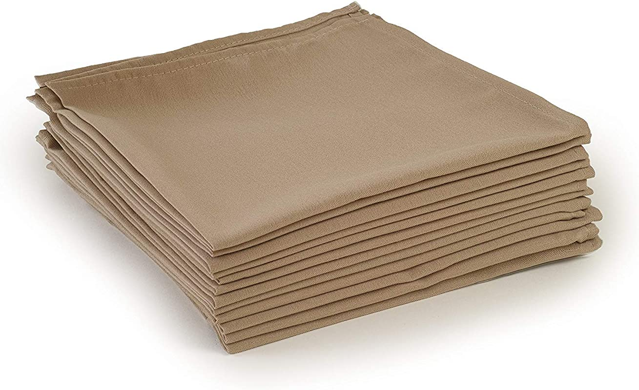 Linen Bedding Dinner Napkin 100 Cotton Taupe Solid Pack Of 6 16 X 16 Inch Large 6 Pack Hankies