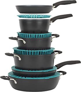 Bialetti SmartFit Stacking cookware, 10 piece set, Gray and teal