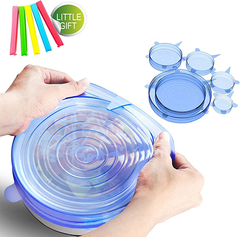 Silicone Stretch Lids For Bowls Pots Dishes Food Covers Reusable Food Wrap Covers For Various Sizes Kinds Of Container And Food Saver