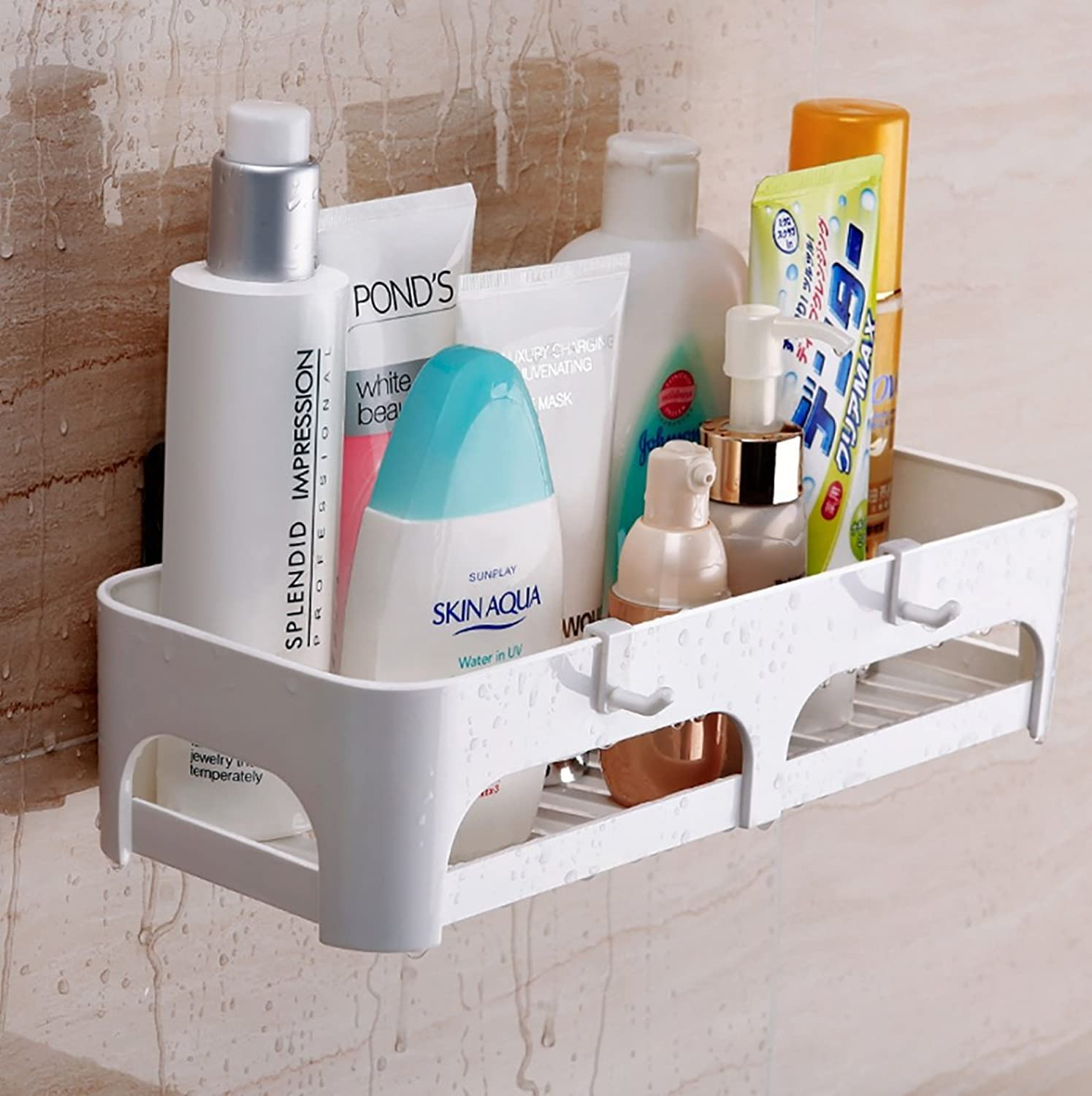 SASA Toilet Sucker Rack Plastic, Bathroom Kitchen Suspended Wall Shelves, Toilet Toilet Storage Rack Wall Hanging Free, 2 Pack.