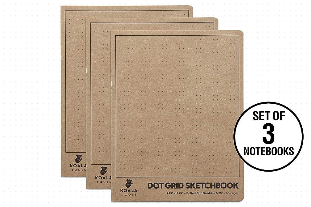 Koala Tools | Large Bullet Notepad - Multi-Use Dot Grid Sketchbook (3 Pack) | 7.75