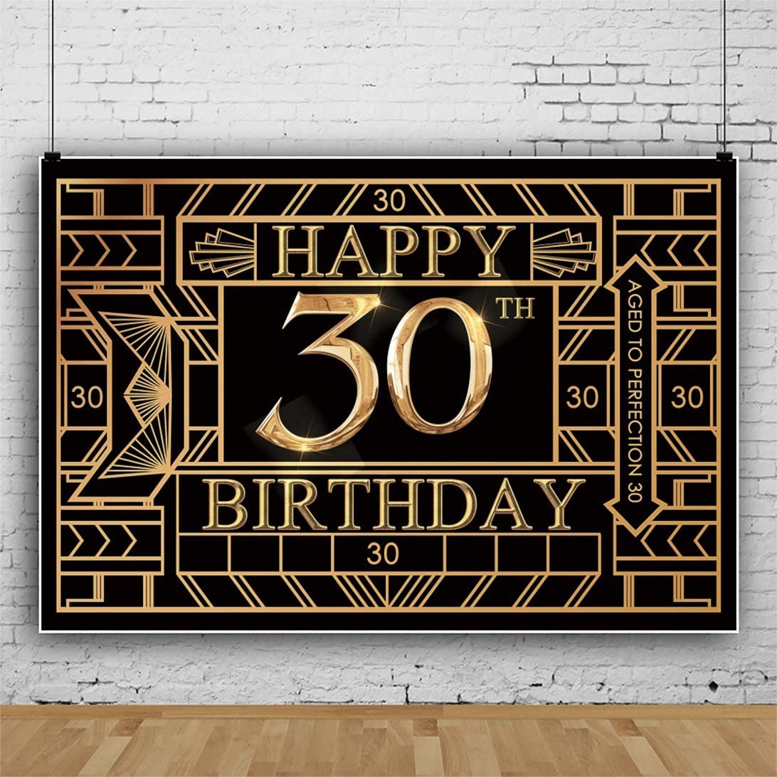 Renaiss 10x6.5ft Happy Birthday Backdrop Gatsby Style Shiny Aged to Perfection 30 Black and Gold Supplies Banner Photography Background Party Celebration Decor Photo Shoot Studio Props
