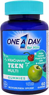 One A Day VitaCraves Teen for Him Multivitamin Gummies, Assorted, 60 ea - 2pc