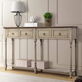 P PURLOVE Console Table Sofa Table with Storage for Entryway with Drawers and Shelf Rectangular Living Room Table(Antique Gray)