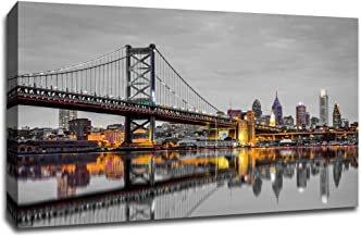 Philadelphia - Touch of Color Skylines - 36x24 Gallery Wrapped Canvas Wall Art ToC
