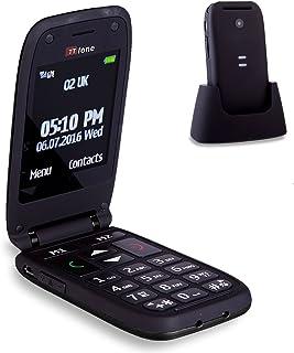 TTfone Meteor Big Button Flip Clamshell Sim Free Mobile Phone (Black)