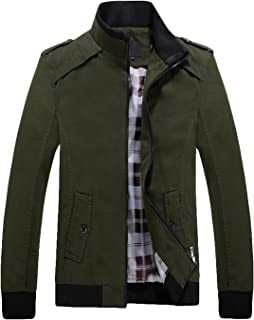 Men's Casual Fitted Stand Collar Cotton Jacket with Shoulder Straps