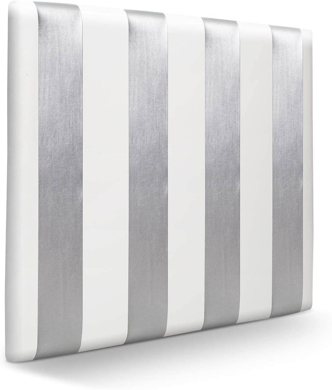 SUENOSZZZ - Cabecero Ohio Lineas Verticales (Cama 140) 150x120 cms. Color Blanco y Plata